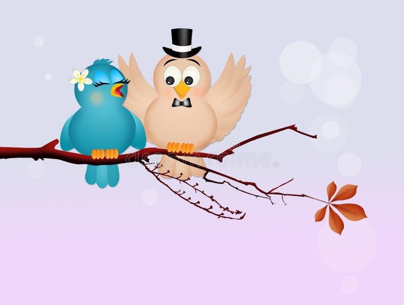 Oiseau deux dans l'amour illustration stock