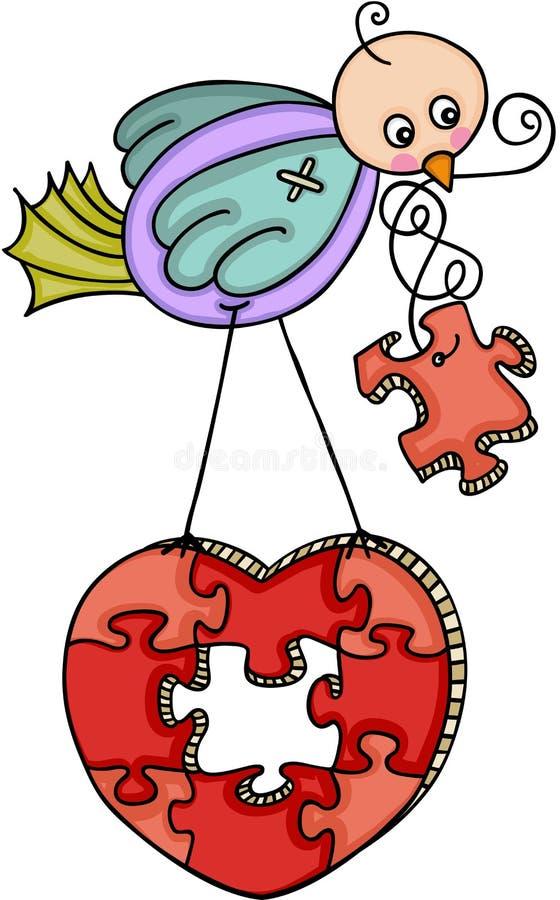 Oiseau drôle avec le puzzle en forme de coeur illustration de vecteur