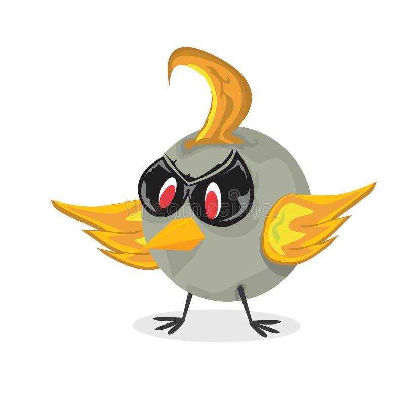 Oiseau du mauvais de vecteur. caractère drôle d'oiseau illustration de vecteur