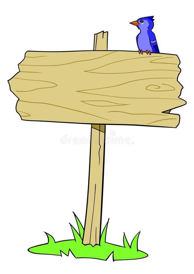 Oiseau en bois de signe illustration de vecteur