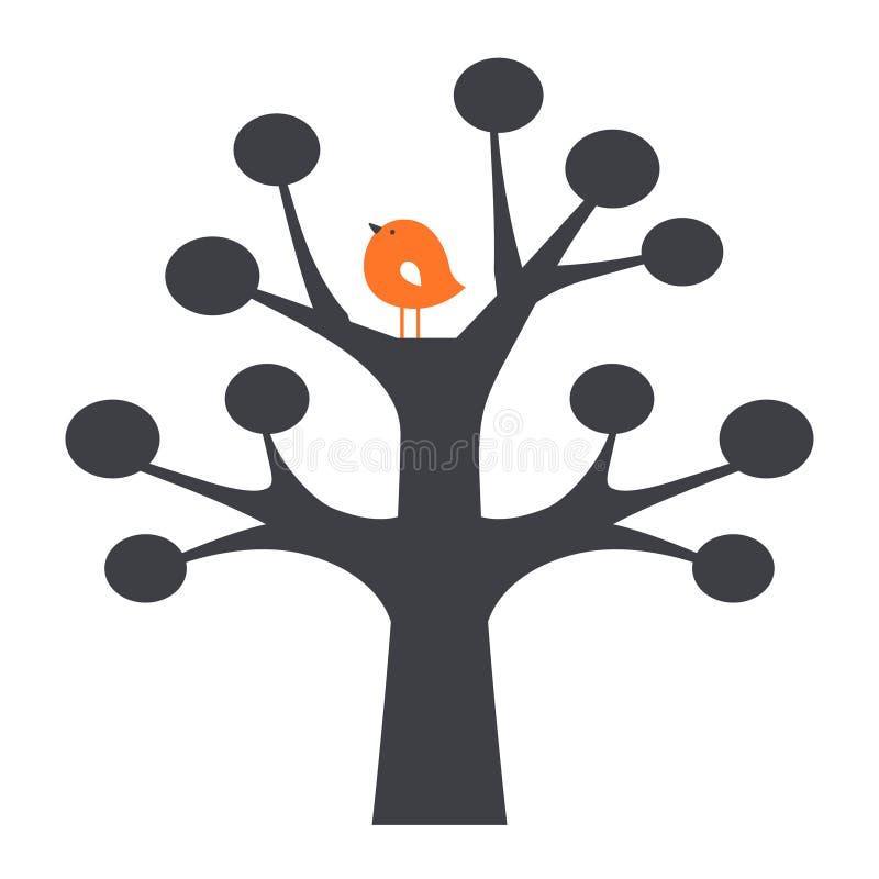 Oiseau et arbre de vecteur illustration libre de droits