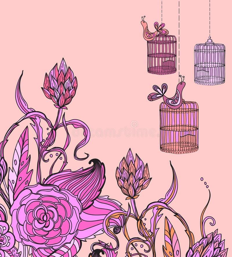 Oiseau et cage floraux tirés par la main romantiques de wirh de carte illustration de vecteur