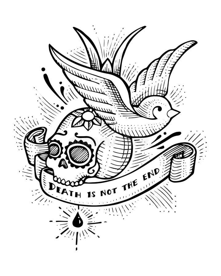 Oiseau et crâne tirés par la main d'hirondelle illustration stock