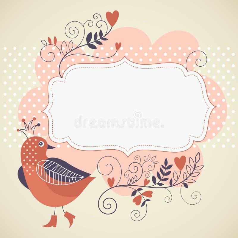 Oiseau et fleurs illustration stock