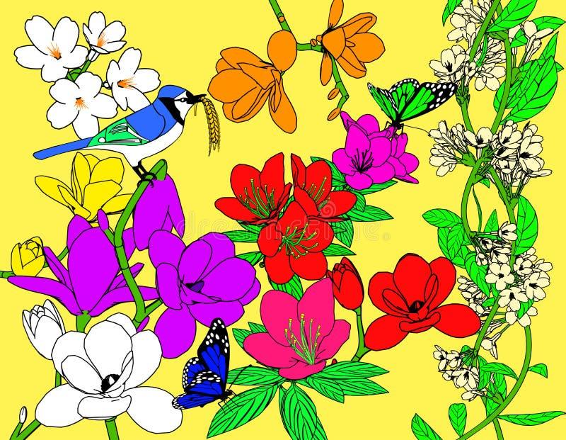 Oiseau et fleurs image libre de droits