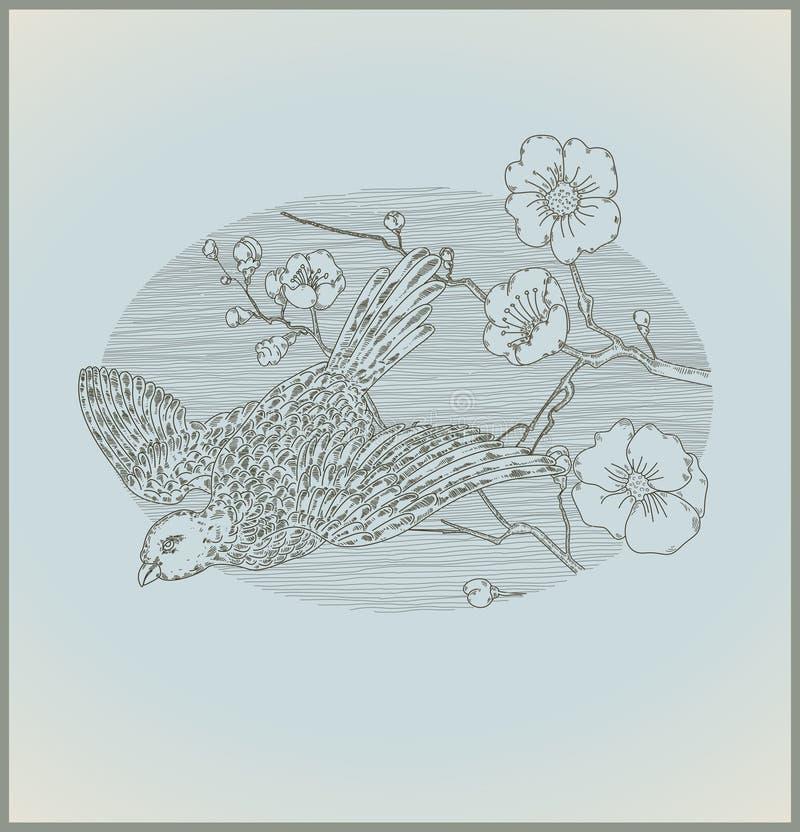 Oiseau et fleurs cru de dessin au trait illustration de vecteur