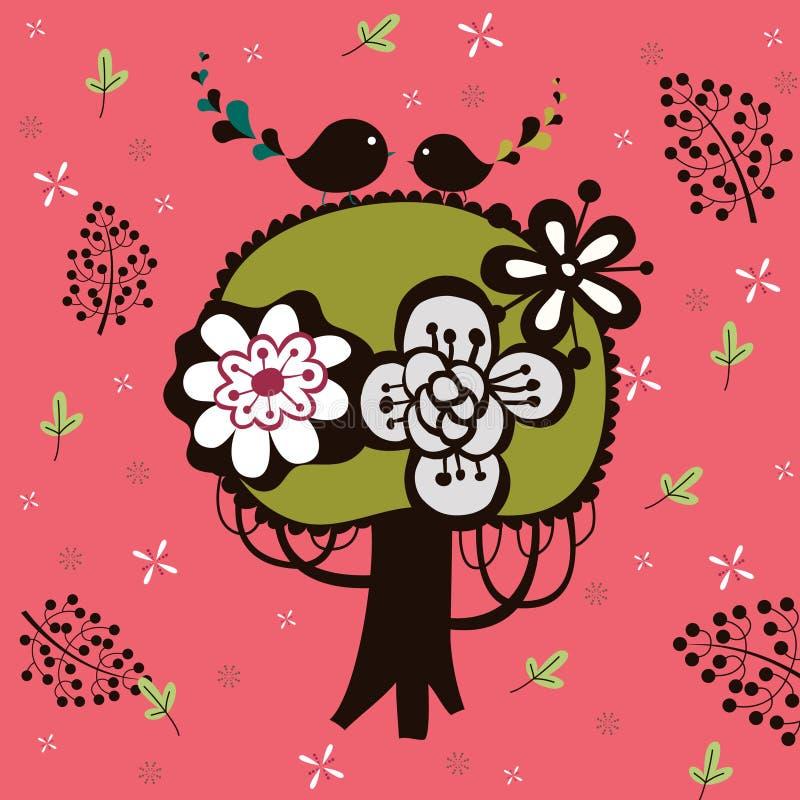 Oiseau et papier peint d'arbre illustration de vecteur