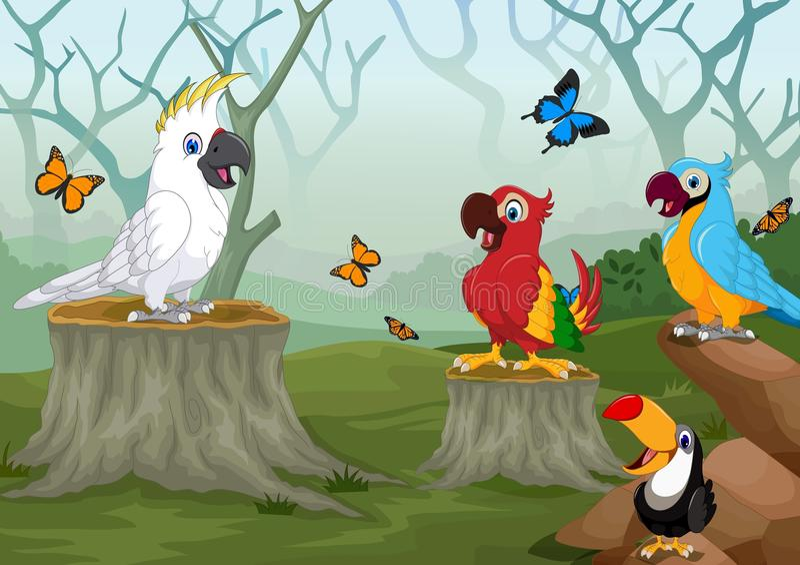 Oiseau et papillon drôles à l'arrière-plan profond de forêt illustration de vecteur