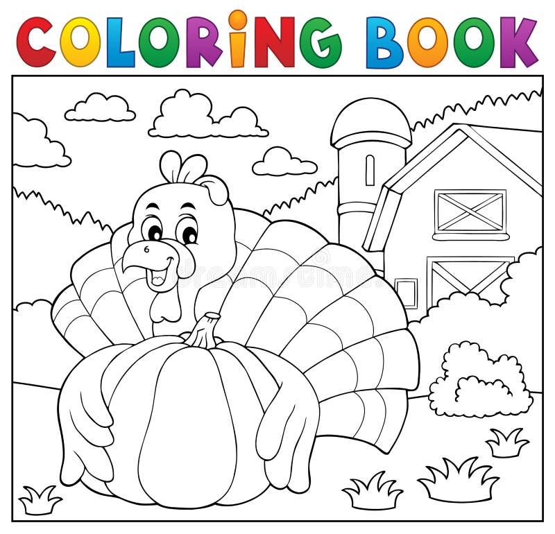 Oiseau et potiron 2 de dinde de livre de coloriage illustration de vecteur
