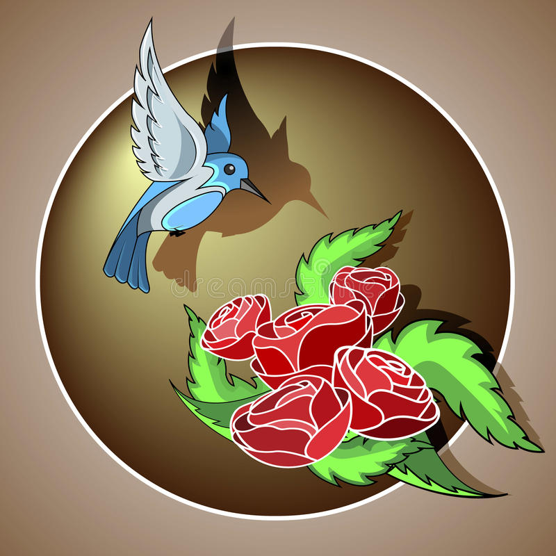 Download Oiseau et roses illustration stock. Illustration du élégant - 76084161