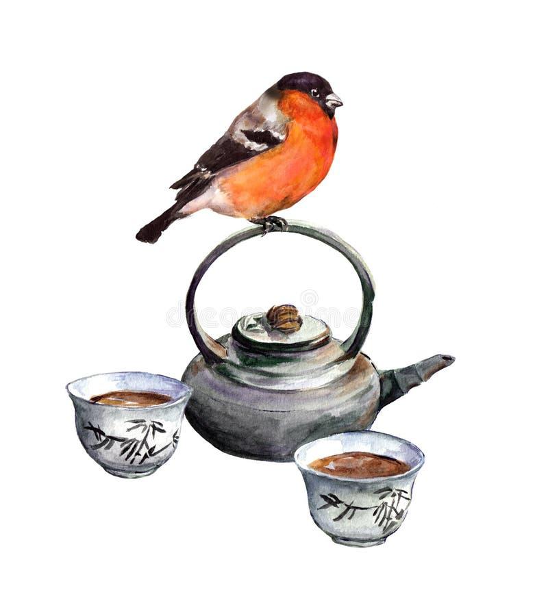 Oiseau et service à thé de bouvreuil watercolor illustration de vecteur