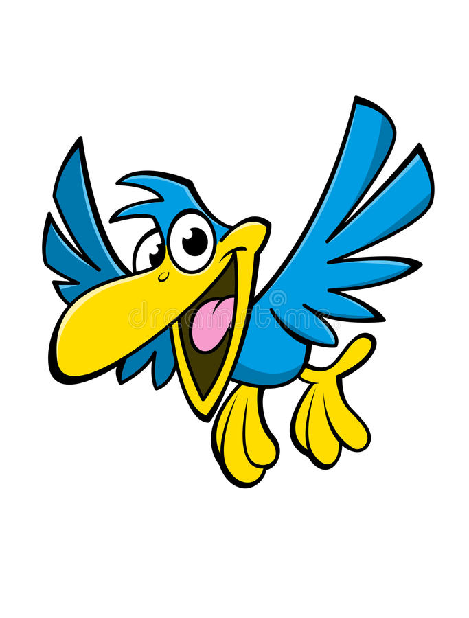 Oiseau heureux de bande dessinée illustration de vecteur