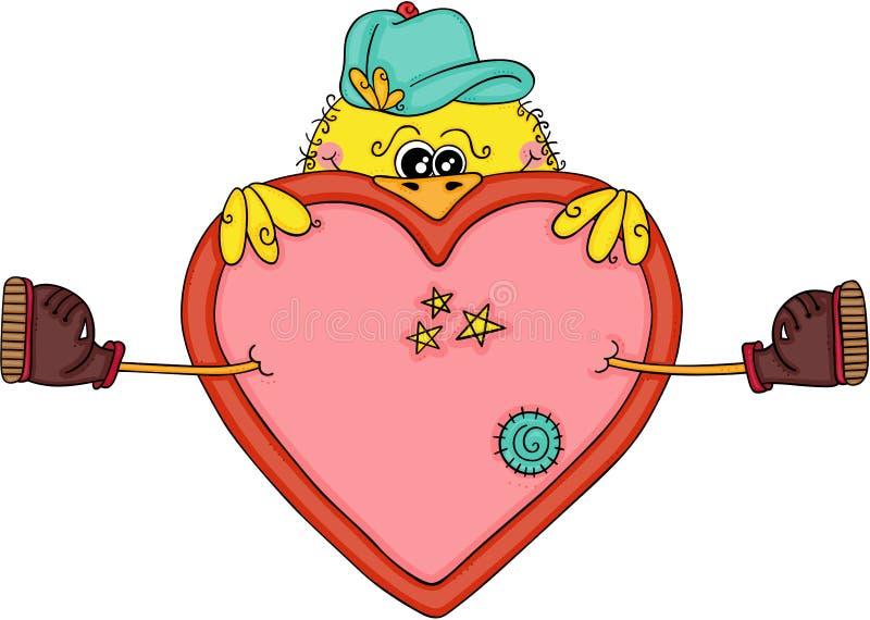Oiseau jaune drôle avec un grand coeur illustration stock
