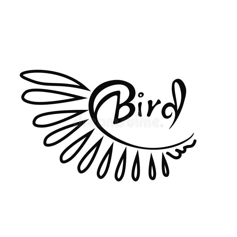 oiseau lettrage Illusration de vecteur Illustration noire et blanche clavettes illustration de vecteur