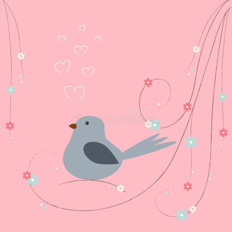 Oiseau mignon avec des coeurs se reposant sur la branche illustration de vecteur