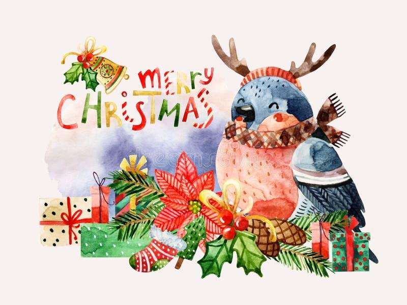 Oiseau mignon avec des félicitations de Joyeux Noël illustration libre de droits