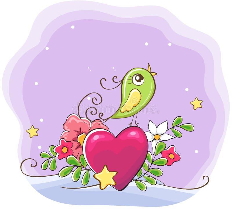 Oiseau mignon de bande dessinée avec le coeur et les fleurs illustration de vecteur