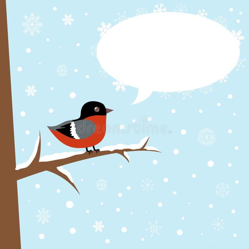 Oiseau mignon de bullfinch de l'hiver sur un branchement illustration libre de droits