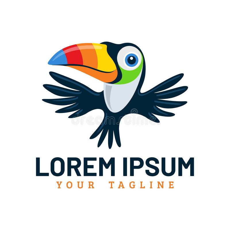 Oiseau mignon Logo Template de toucan de vol illustration libre de droits