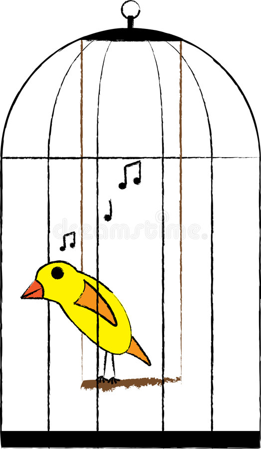 Oiseau mis en cage illustration de vecteur