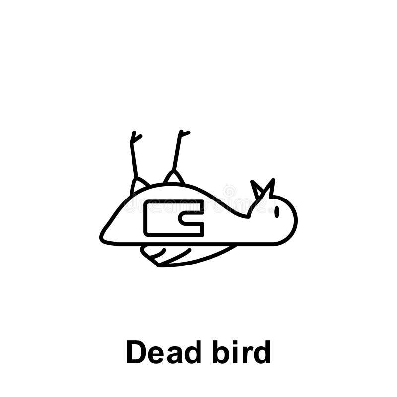 Oiseau mort, ic?ne en plastique ?l?ment d'ic?ne de probl?mes de pollution Ligne mince ic?ne pour la conception de site Web et le  illustration stock