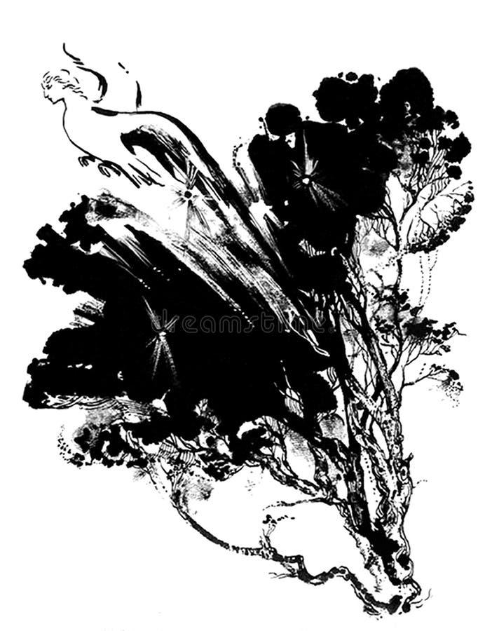Oiseau prophétique Gamayun illustration de vecteur