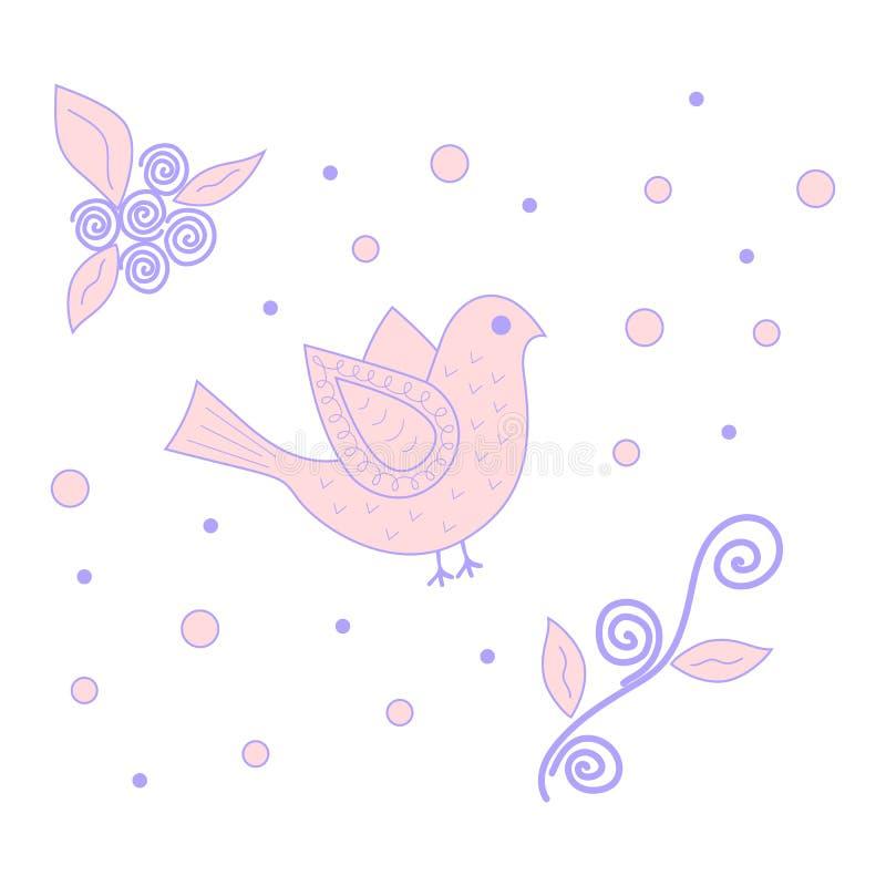 Oiseau rose et pourpre illustration de vecteur