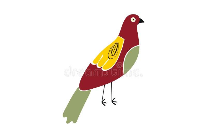 Oiseau rouge créatif avec les ailes jaunes et la queue verte illustration libre de droits