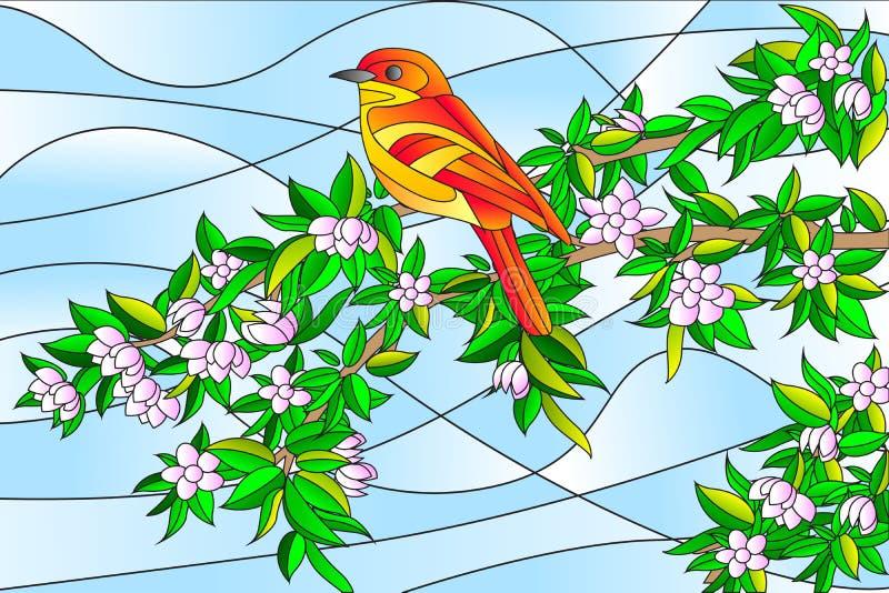 Oiseau se reposant sur la peinture en verre souillé d'arbre illustration stock