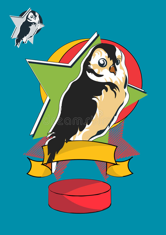 Oiseau stylisé de hibou de bande dessinée plumes brunes et jaunes, y compris la deuxième variante avec l'oiseau sans couleur dans illustration de vecteur