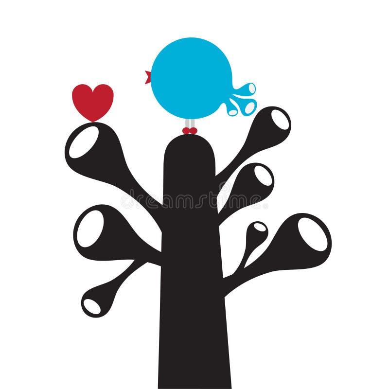 Oiseau stylisé mignon sur l'arbre illustration de vecteur