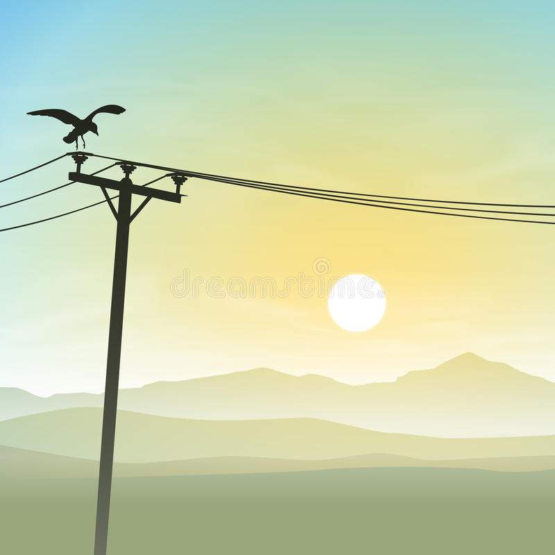 Oiseau sur des lignes téléphoniques illustration de vecteur