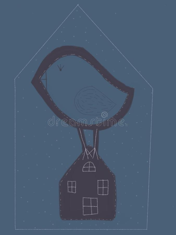Oiseau sur la maison illustration libre de droits