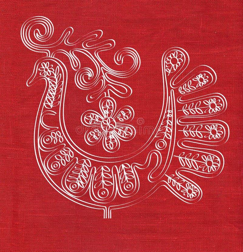 Oiseau sur la texture de toile rouge illustration stock