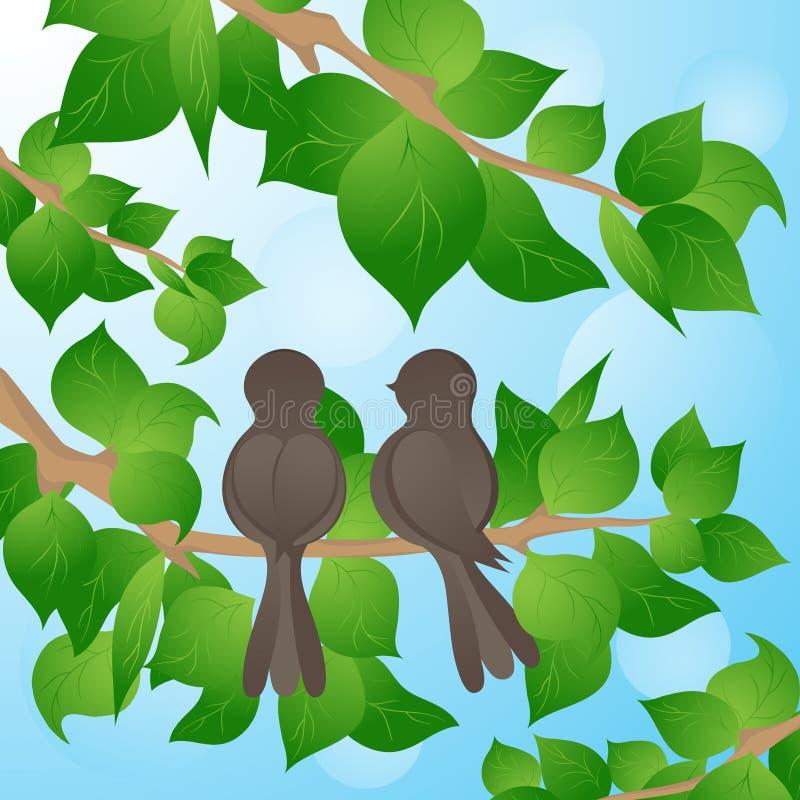 Oiseau sur un arbre, un fond de source illustration stock