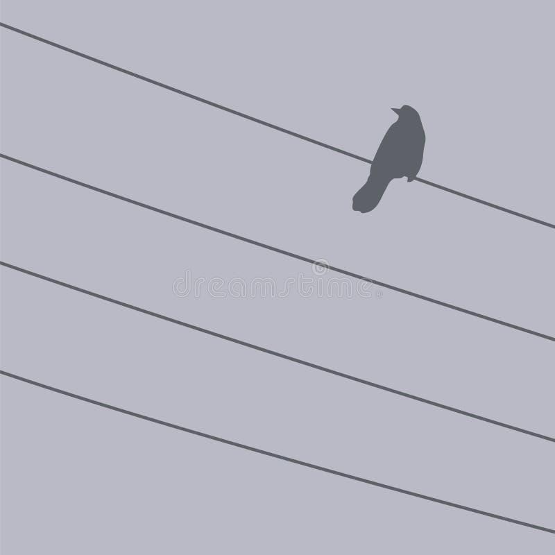 Oiseau sur un fil illustration stock
