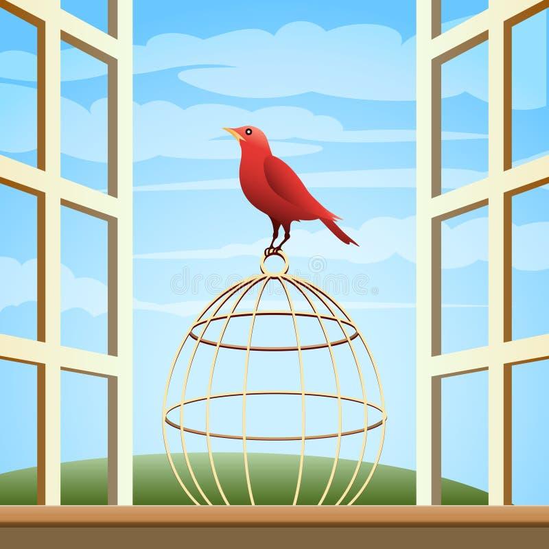 Oiseau sur une cage illustration libre de droits
