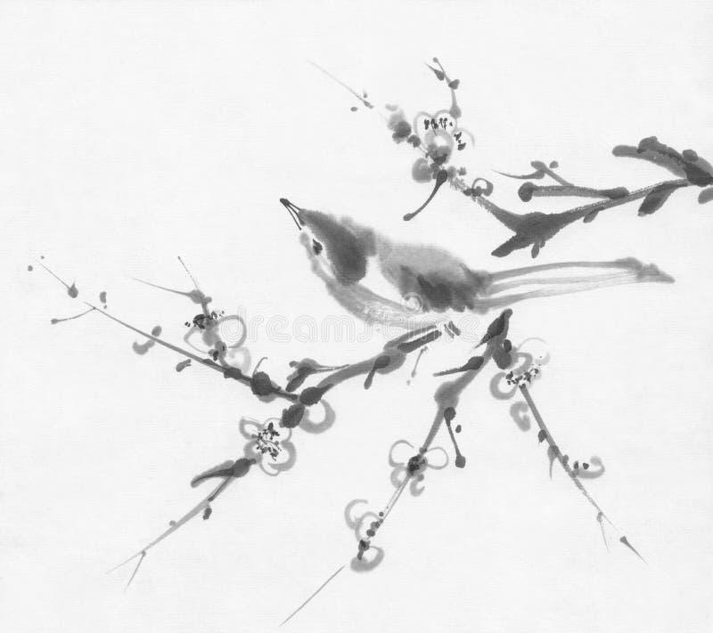 Oiseau sur une peinture d'encre de sumi-e de branche de cerise image libre de droits