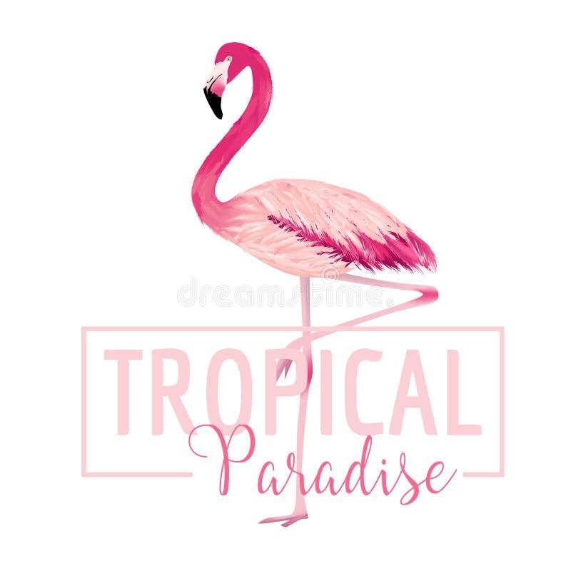 Oiseau tropical Fond de flamant Conception d'été illustration de vecteur