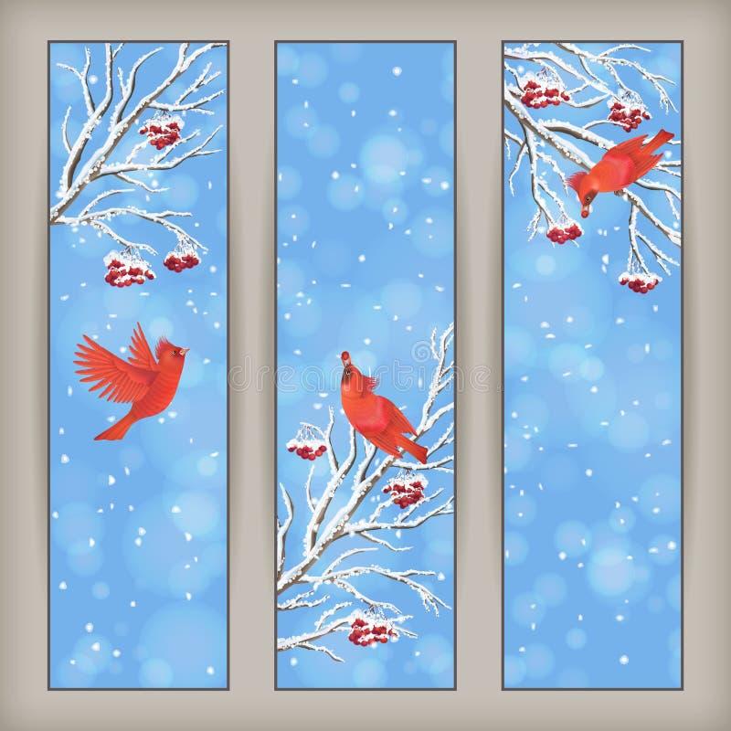 Oiseau vertical Rowan Branches de bannières de Noël illustration stock
