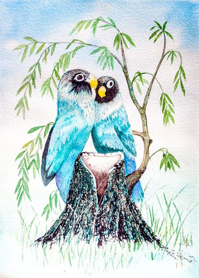 Oiseaux étés perché sur le tronçon d'arbre - peinture originale d'aquarelle illustration de vecteur