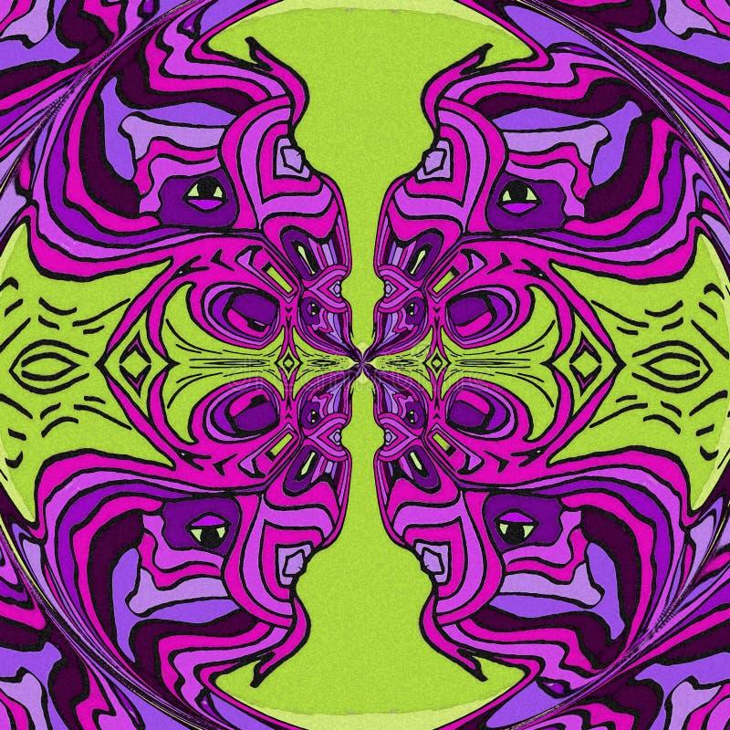 Oiseaux abstraits au printemps Couleur violette et verte illustration stock