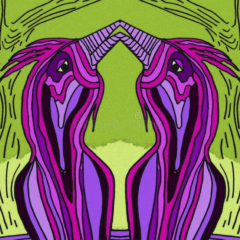 Oiseaux abstraits au printemps Couleur violette et verte illustration libre de droits