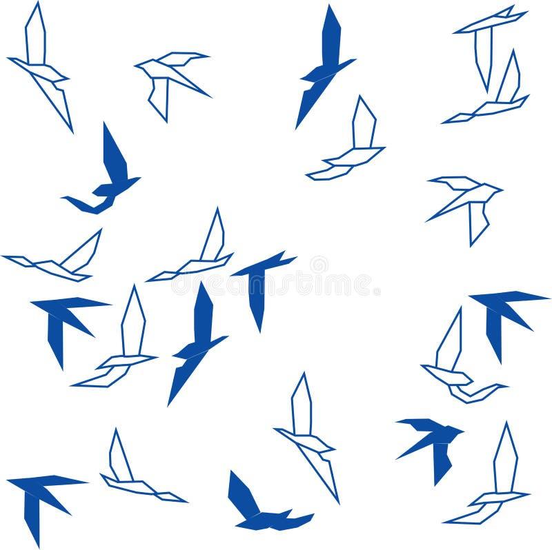 Oiseaux abstraits d'hirondelle de vol sur le fond blanc illustration stock