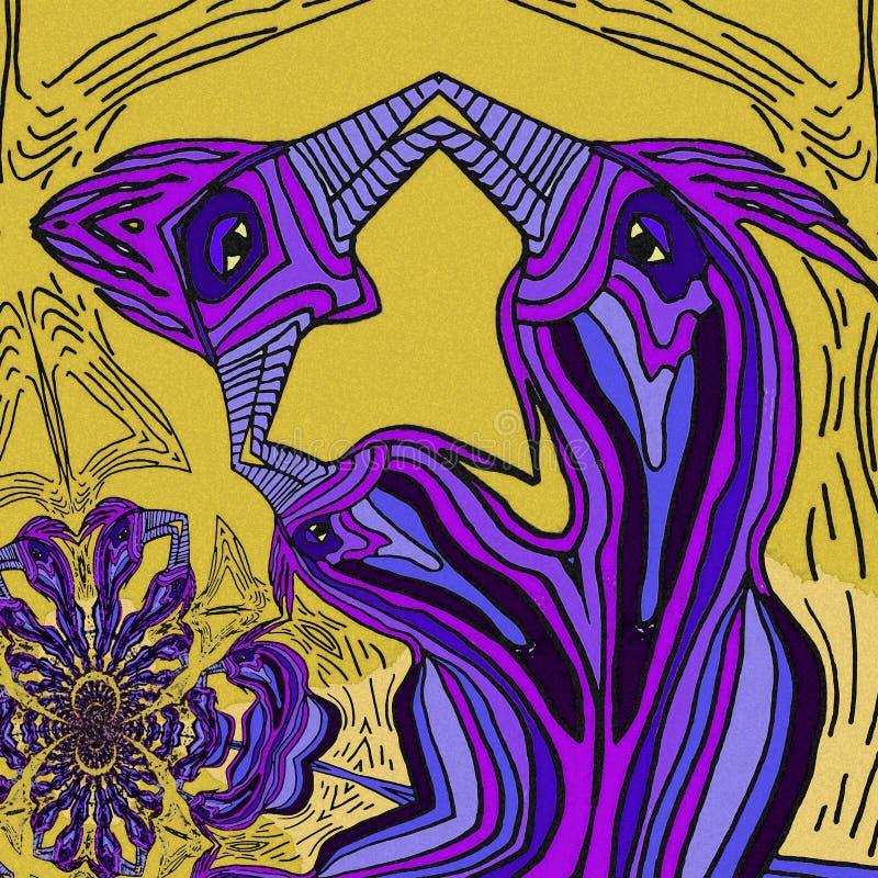 Oiseaux abstraits de famille d'I Couleurs violettes et jaunes illustration stock