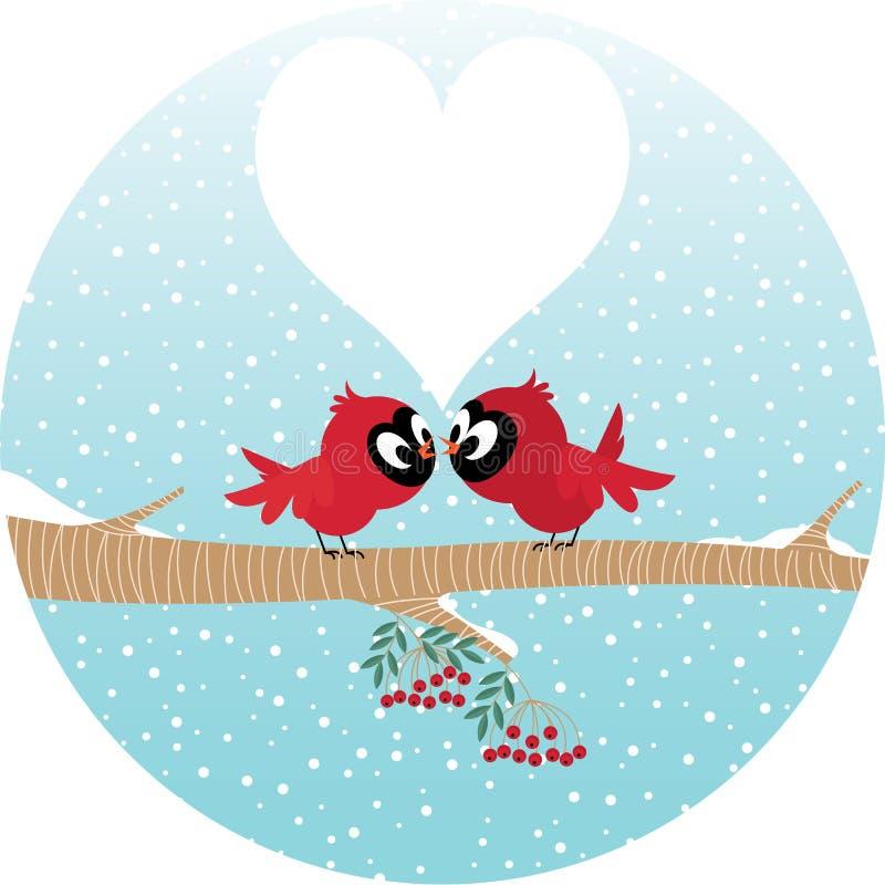 Oiseaux affectueux sur une branche illustration stock