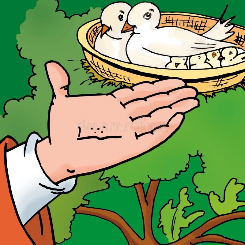 Oiseaux alimentants illustration de vecteur