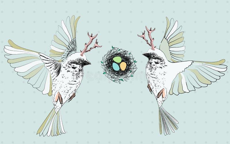 Oiseaux avec des grains volant près du nid avec des oeufs illustration de vecteur