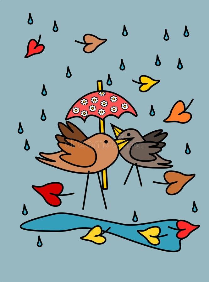 Oiseaux avec le parapluie rose illustration stock