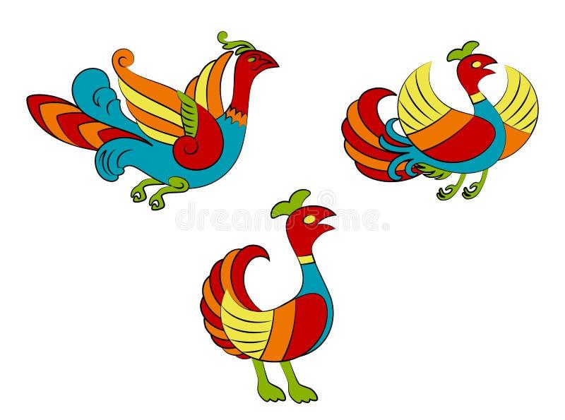 Oiseaux colorés drôles illustration stock